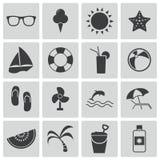 Iconos negros del verano del vector Libre Illustration