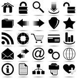 Iconos negros del Web Fotografía de archivo