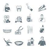 Iconos negros dentales fijados libre illustration