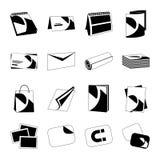Iconos negros monocromáticos del web de la casa de impresión fijados Foto de archivo libre de regalías