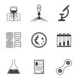 Iconos negros para la bacteriología stock de ilustración