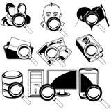 Iconos negros que magnifican - 2 Imagen de archivo libre de regalías