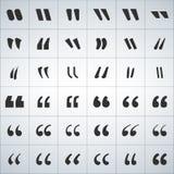 Iconos negros sistema, ejemplo de la marca de la cita del vector aislado en el fondo blanco stock de ilustración