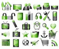 Iconos negros y verdes stock de ilustración