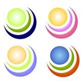 Iconos o insignias coloridos del círculo