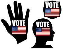 Iconos o insignias simbólicos del voto del indicador de los E.E.U.U. Foto de archivo libre de regalías