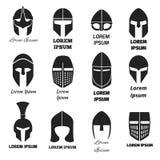 Iconos o logotipos negros del vector de los cascos del guerrero fijados Fotografía de archivo libre de regalías