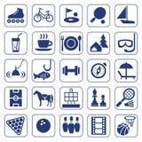 Iconos, ocio, entretenimiento, ocio, aficiones, monocromo, plano stock de ilustración