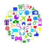 Iconos olored ¡del negocio de Ð en círculo ilustración del vector