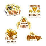 Iconos orgánicos superiores del vector del producto de la abeja de la miel Imagenes de archivo