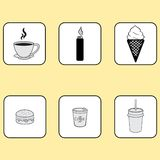 iconos originales, café, encendedor, comida, bocadillo Fotografía de archivo