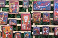 Iconos ortodoxos en la madera Fotos de archivo