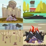 Iconos ortogonales de los desastres provocados por el hombre libre illustration