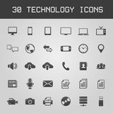 Ejemplo oscuro del vector de 30 iconos de la tecnología ilustración del vector