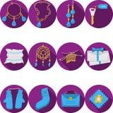 Iconos púrpuras planos para los regalos hechos a mano Foto de archivo