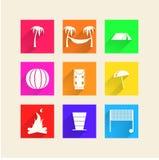 Iconos para acampar Fotos de archivo libres de regalías