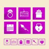 Iconos para casarse Imágenes de archivo libres de regalías