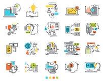 Iconos para el comercio electrónico Iconos de la idea de la ingeniería Medios de Sosial Las líneas de contorno finas con los terr libre illustration