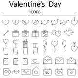 Iconos para el día de tarjeta del día de San Valentín Fotografía de archivo libre de regalías