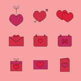 Iconos para el día de tarjeta del día de San Valentín: corazón en una secuencia, el corazón con una flecha, postales, calendarios Foto de archivo libre de regalías