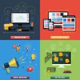 Iconos para el diseño web, seo, medio social Fotografía de archivo libre de regalías