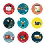 Iconos para el diseño web, seo, medio social Imagen de archivo libre de regalías
