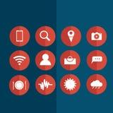 Iconos para el establecimiento de una red social Fotos de archivo