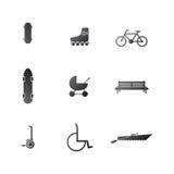 Iconos para el ocio activo en el parque ilustración del vector