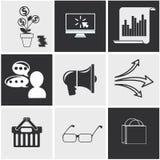 Iconos para el seo, medias compras en línea sociales Imágenes de archivo libres de regalías