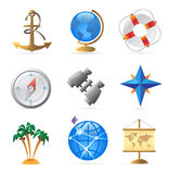 Iconos para el viaje por mar Foto de archivo libre de regalías