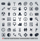 Iconos para Internet, el viaje, la comunicación y los medios Imágenes de archivo libres de regalías