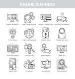 Iconos para la planificación de empresas, el desarrollo y los speares en línea Ilustración del Vector