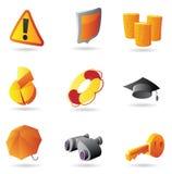 Iconos para la seguridad del asunto Imagenes de archivo