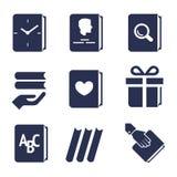 Iconos para las acciones con los libros ilustración del vector