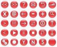 Iconos para las acciones del Web fijadas rojas Imagen de archivo libre de regalías