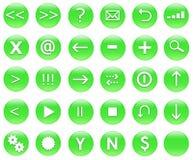Iconos para las acciones del Web fijadas verdes Foto de archivo libre de regalías