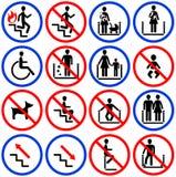 Iconos para las escaleras móviles y las escaleras en el departamento Imagen de archivo