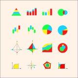 Iconos para los gráficos y las cartas Foto de archivo libre de regalías
