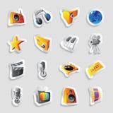 Iconos para los media y la música Imágenes de archivo libres de regalías