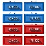 Iconos para los relojes digitales Imagenes de archivo