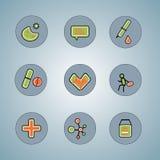 Iconos para los temas médicos para el web Imagen de archivo