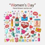 Iconos para mujer del día Imagen de archivo libre de regalías