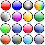 Iconos pegajosos brillantes del botón de los sellos Ilustración del Vector