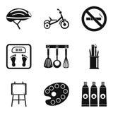 Iconos pequenitos fijados, estilo simple stock de ilustración