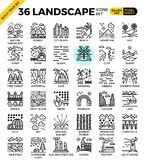 Iconos perfectos del esquema del pixel del paisaje de la naturaleza Imagen de archivo