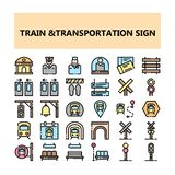 Iconos perfectos del pixel de la muestra del transporte del tren fijados en estilo llenado del esquema ilustración del vector