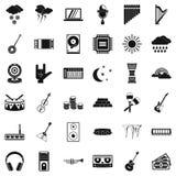 Iconos perfectos fijados, estilo simple de los sonidos stock de ilustración