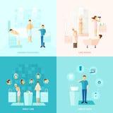 Iconos personales y de la familia del cuidado fijados ilustración del vector