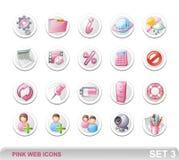 Iconos. Pink-SET3 del Web Fotos de archivo