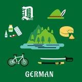 Iconos planos alemanes de la cultura y de la historia Fotos de archivo libres de regalías